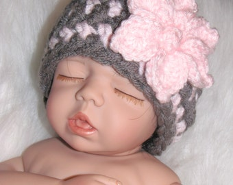 Baby Girl Hat with Flower - Gray and Pink - Newborn - ANY COLORS - Reborn Dolls - AG Dolls