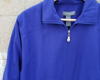Color Poppin' Cobalt Blue Windbreaker. Vintage 1990s Jacket by Goodies and Co.