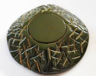 Bakelite Button Forest Green Hyper Carved