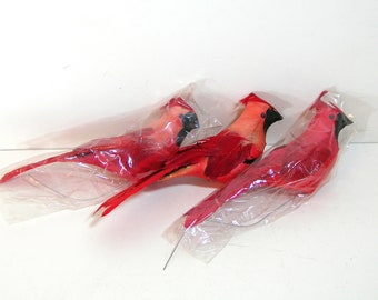 Red Feather Birds, Cardinals, Set of Three
