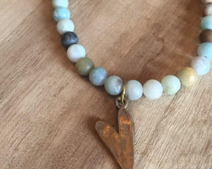 Heart  Necklace, Amazonite Necklace, Amazonite and Gold Necklace, Gold and Blue Bead Necklace