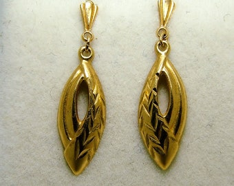 9ct 9k Yellow Gold Abstract Leaf Stud Drop Earrings Androlock