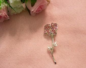 1950s Vintage Flower Brooch with Pink Aurora Borealis Stones