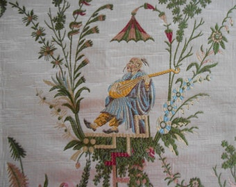 """Gorgeous """"Old Cathay Lampas"""" Fabric  Chinoiserie Toile"""
