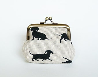 Coin purse, sausage dog fabric, beige and black cotton dachshund design, cotton pouch
