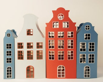 """Paper house, 17"""", Papercraft house, Papercraft, Christmas house, Paper luminaries, Christmas decoration, SET B OF 4 HOUSES"""