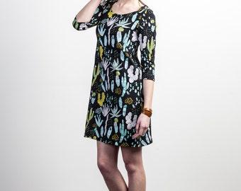 Cactus Dress - Womens Shift Dresses - Succulent Dress -Organic Jersey - Slow Fashion - Little Black Dress - Gift for Her - Thief&Bandit®