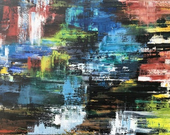 Title: Waterfall / Original Abstract Oil Painting / Painted by Ashley Cardinal / South River Studio