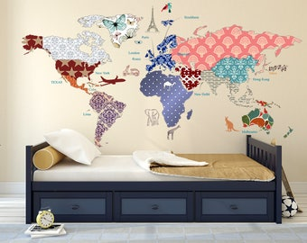 Cultural world map etsy cultural world map decal butterfly pattern map wall decal clear vinyl decal nursery room decals map mural whole wide world decal publicscrutiny Image collections