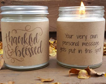 Fall Candle, Thankful & Blessed Soy Candle, Soy Candle Gift, Autumn Candle Gift, Hostess Gift, Personalized Candle, Thanksgiving Candle
