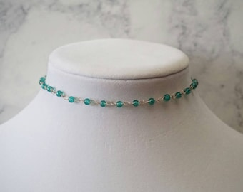 Teal Beaded Choker Necklace