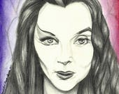 """Portrait Drawing Art Print: """"Mommy Weirdest"""" Lily Munster Morticia Addams The Munsters The Addams Family"""
