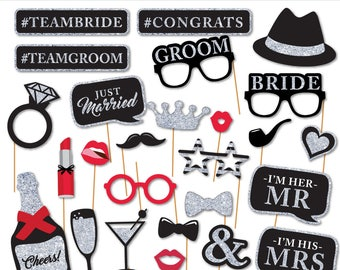 Printable Wedding Photobooth Props - Glam Wedding Photo Booth Props - Bachelorette Party Props -  Instant Download - Silver Glitter Wedding