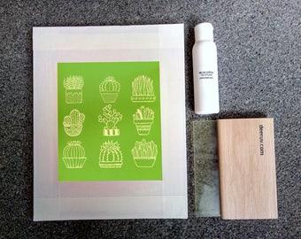 Screen printing kit, Siebdruck set, la sérigraphie, screenprinting for beginners, screenprinting, ready to print, frame with cactus