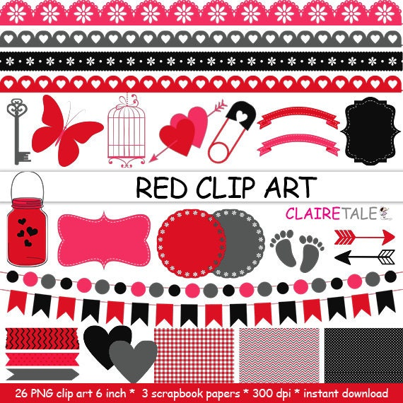 "Digital ""RED CLIP ART"" frames, labels, ribbons, borders, flags, arrows, butterfly, lights, hearts, mason jar, key, bird cage, baby shower"