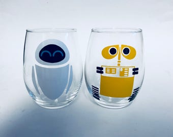 Wall-E and EVE inspired by Disney and Pixar's Wall-E stemless wine glass vinyl set