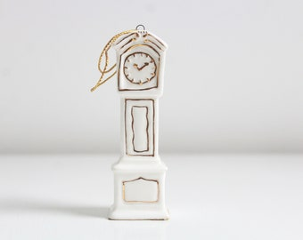 Miniature Clock, Dollhouse Clock, Miniature Grandfather Clock, White Dollhouse Clock, Clock Ornament, Enesco Clock, Porcelain Clock, Tiny