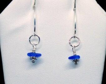 Blue Sea Glass Earrings, Sterling Earrings, Sea Glass Jewelry, Beach Earrings,  Sea Glass Earrings, Beach Gift, Mothers Day Gift