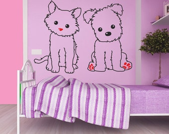 Baby cat and dog Wall decal, Animal wall decal, Kitten wall decal, Little dog wall decal, Nursery room wall decal, Kids room wall decal 079