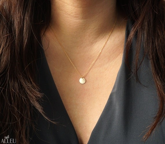 best everyday wanelo jewelry dainty tiny on products simple necklace personalized gold disc initial shop