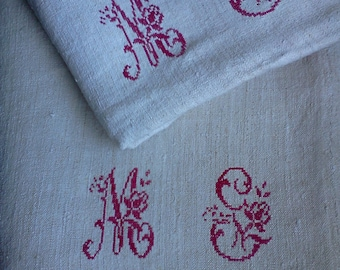 2 French Antique Hemp Sheets of superb quality with Large Hand-Embroidered Monogram MS or MG in red cross stitches. Hemp Upholstery Fabric.