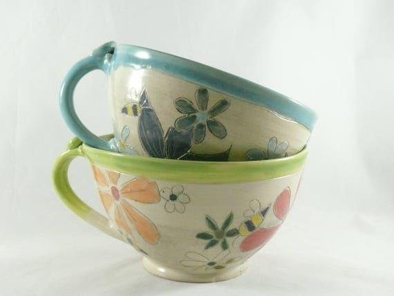 two oversized mug soup mugs large latte cups tea cups soup