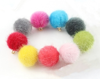 2pcs/lot 15mm Synthetic Mink Fur Pom poms Jewelry Pompoms Accessory Balls with Metal Ring