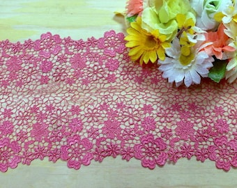 "DN700-7"" Pink   flowers Venise Lace Trim by yard"