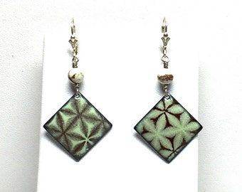 Starburst Enamel Earrings with Magnasite Accents and Sterling Silver findings