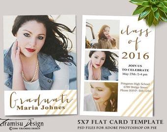 Senior Graduation Announcement Cards Photoshop Templates, sku gr16-2