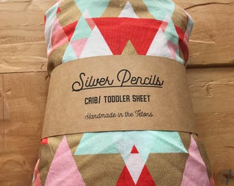 Ready to Ship, Crib Sheet, Mojave Sunrise, Toddler, Fitted, Pink, Gold, Mint, Geometric, Southwestern