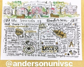 """Anderson University watercolor handlettering 81/2""""x11"""" Merritt Boulevard arches thrift library troy Trojan milk and cookies Whitaker"""