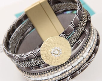 Beautiful magnetic clasp gold grey Cuff Bracelet