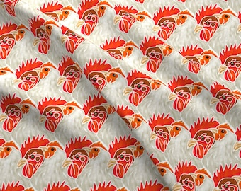 Rooster Fabric - Who'S Head Of The Coop? By Eclectic House - Summer Chicken Kitchen Decor Cotton Fabric By The Yard With Spoonflower