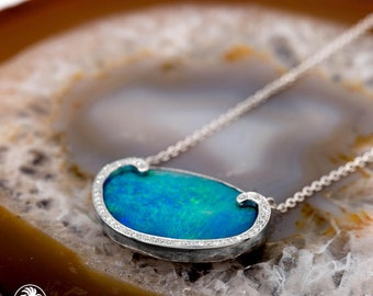 Opal Necklace, Blue Opal Diamond Pendant, Designer Necklace With Opal, Opalescence Collection, Opal Doublet With Pave Diamonds | NEC02113