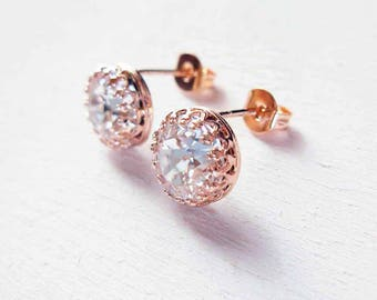 Bridal Earrings in silver 925 pink gold and Swarovski crystal transparent chic romantic style