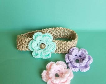 Crochet Toddler/Child headband with interchangeable flowers, Crochet headband with flowers