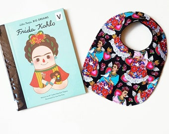 Frida Kahlo inspired Mexican art heart baby bib