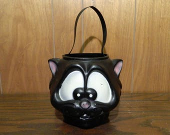 Vintage Blow Mold Halloween Black Cat Trick Or Treat Pail