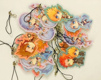 Kingdom Hearts Chibi Laminated paper keychain set