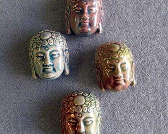 4 Pieces Raku Buddha Head Bead, Peruvian Ceramic