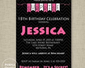 13th 18th 30th Birthday Surprise Invitation Hot Pink and Black Invite Adult Party Invite Printable Invitation JPG File Invite 295