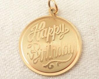 Vintage 14K Gold Happy Birthday Medallion Charm