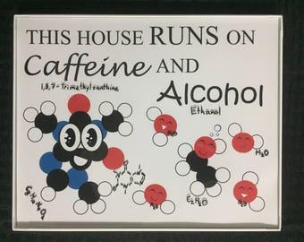 This House Runs on Caffeine and Alcohol- Framed Print