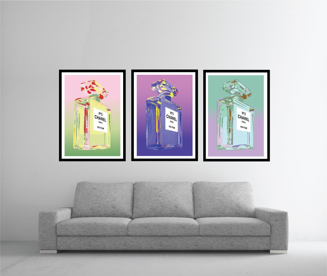 3 x vintage chanel perfume bottle poster art prints warhol in zoom jeuxipadfo Gallery