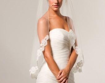 Alencon Lace Veil, fingertip veil, lace fingertip veil, bridal lace veil, lace veil, bridal accessories, French lace veil.