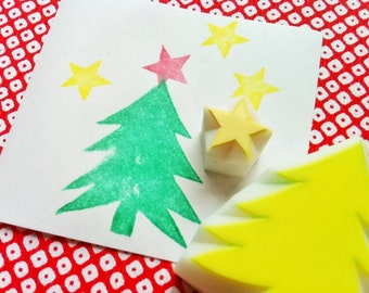 christmas tree rubber stamp set | cedar tree & star stamp | diy woodland christmas card making | hand carved by talktothesun | set of 2