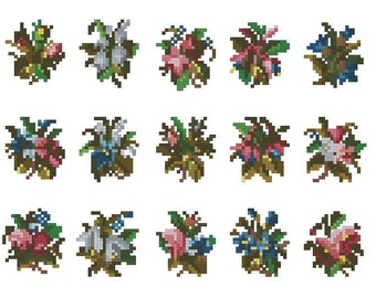 15 small flower Victorian patterns for cross stitch, Berlin wool work and needlepoint