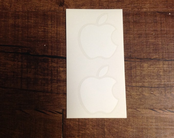 Genuine Authentic White Apple Logo Sticker Decal 2 Total Stickers OEM