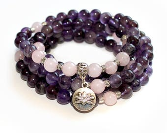 Japa Mala Bracelet 108 Amethyst and Rose Quartz Gemstone 8mm Beads  for Meditation and Mantra